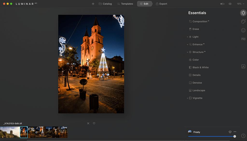 Luminar AI Edit Screen